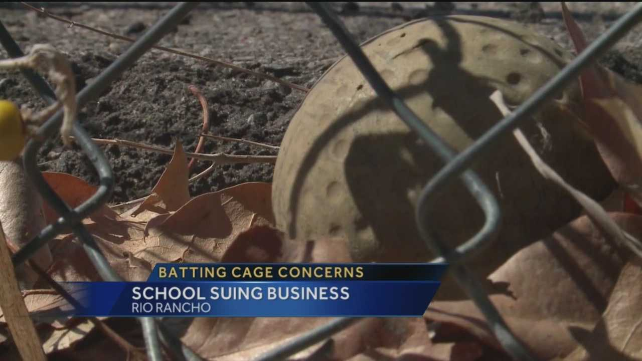 A Rio Rancho school is suing a batting cage for putting students in danger.