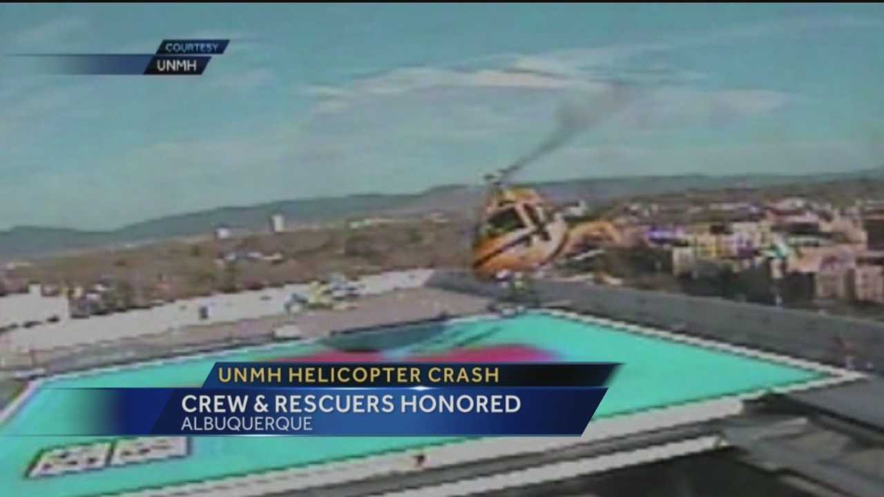 A helicopter spun out of control and landed on top of UNMH last April. The mayor recently honored those that kept the crash from becoming deadly.