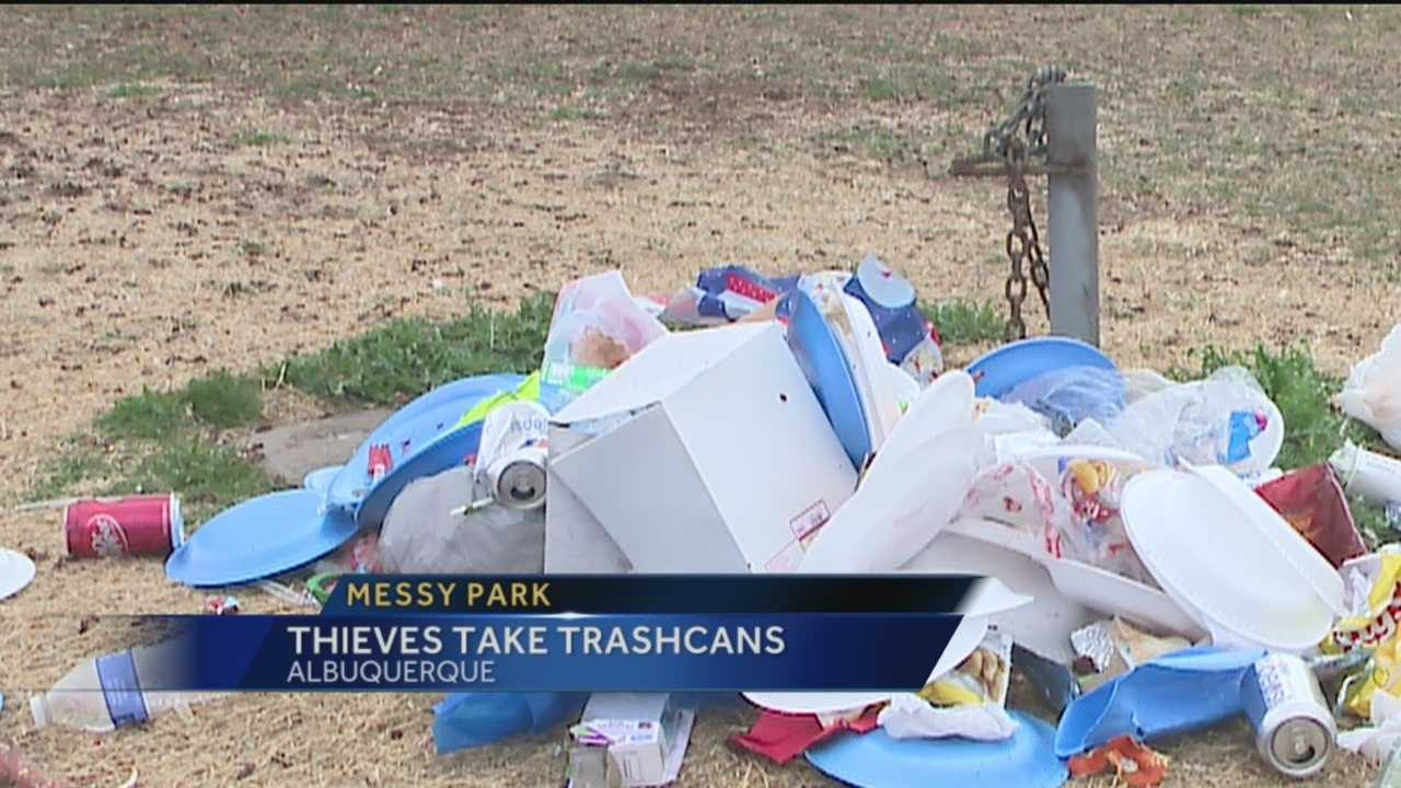 Trash is piling up on the ground of an Albuquerque park.