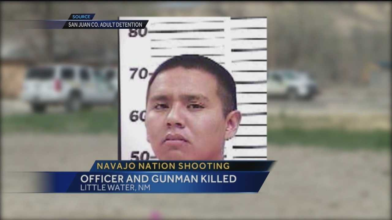 Officials say a Navajo police officer and a gunman are dead following a shooting Thursday in Little Water, New Mexico, near Shiprock.