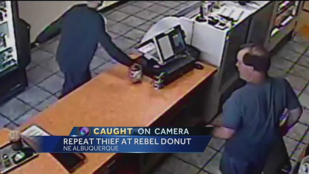 A repeat thief is targeting the same donut shop.