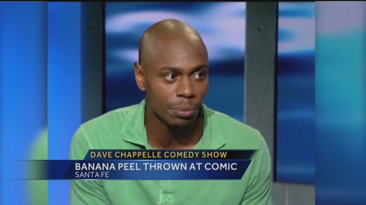 A New Mexico man was taken out of the Dave Chappelle show in handcuffs Monday after police said he threw a banana peel at the comedian.