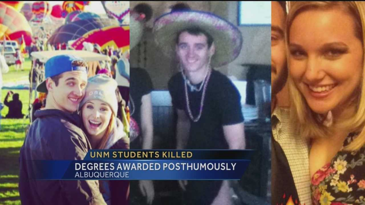 Two students who died in a tragic accident were awarded degrees at UNM's Graduation.