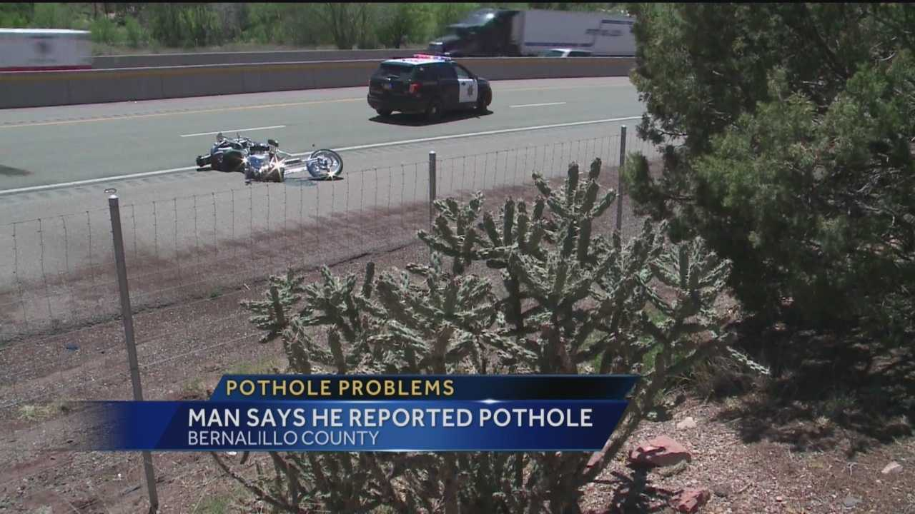 Police are investigating whether a pothole is to blame for a bad motorcycle crash.