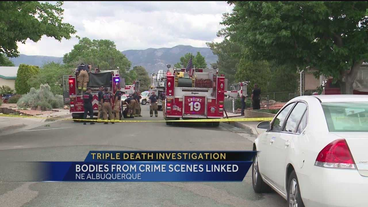 Albuquerque police are investigating after two bodies were found in a burning home and a third body was found about 2 miles southeast of the residence.