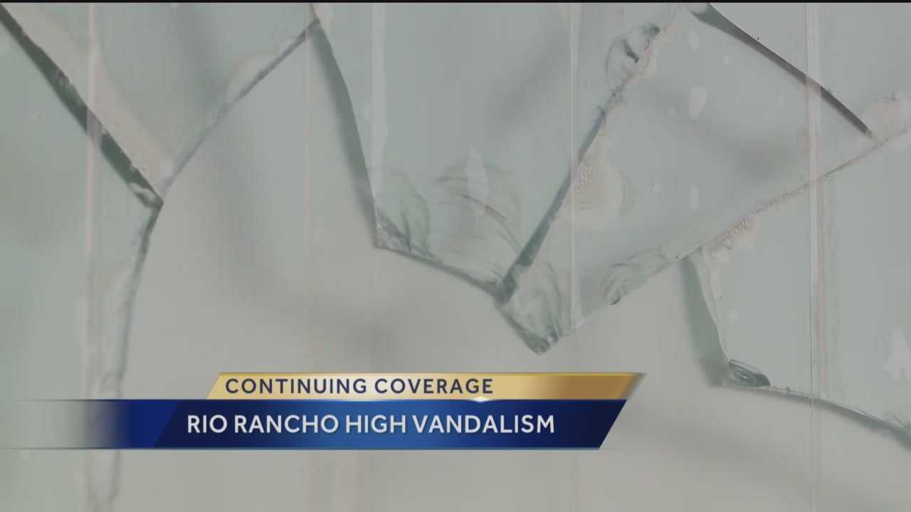 About 30 windows were damaged Saturday morning at Rio Rancho High School.