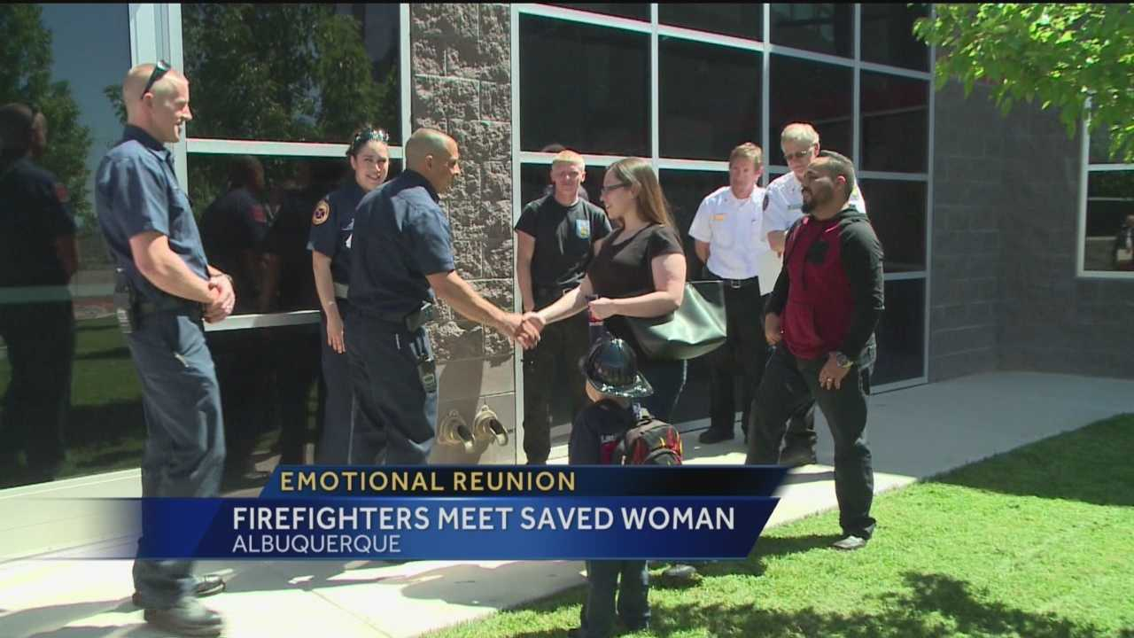 A woman and the emergency personnel who helped save her life two years ago had an emotional reunion Thursday.