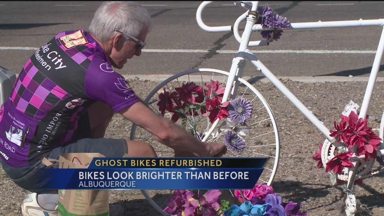 Albuquerque's Memorial ghost bikes got a touch up thanks to the Duke City Wheelmen.