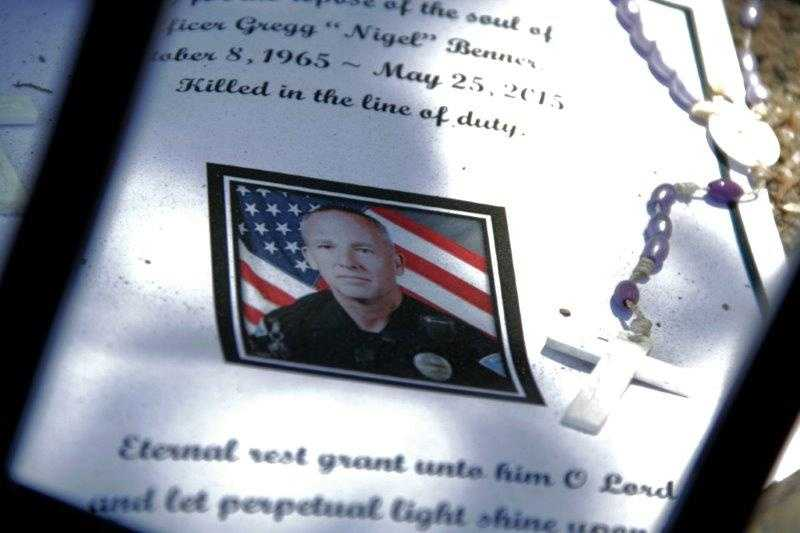 See photos from the memorial at Southern and Pinetree for Officer Gregg Benner.