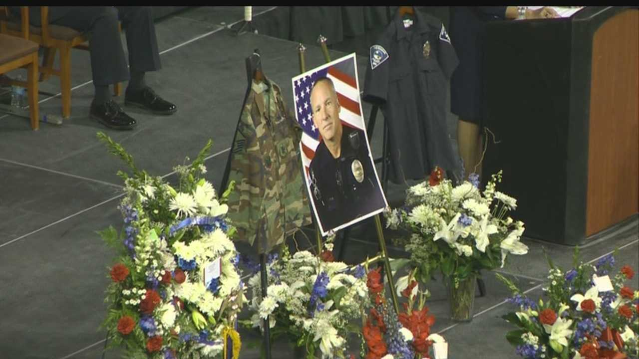 Hundreds showed up to celebrate the life of and say goodbye to a Rio Rancho police officer who died in the line of duty.