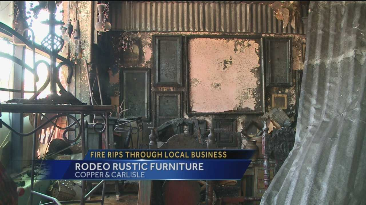 A fire tore through Rodeo Rustic Furniture in Nob Hill Thursday morning.