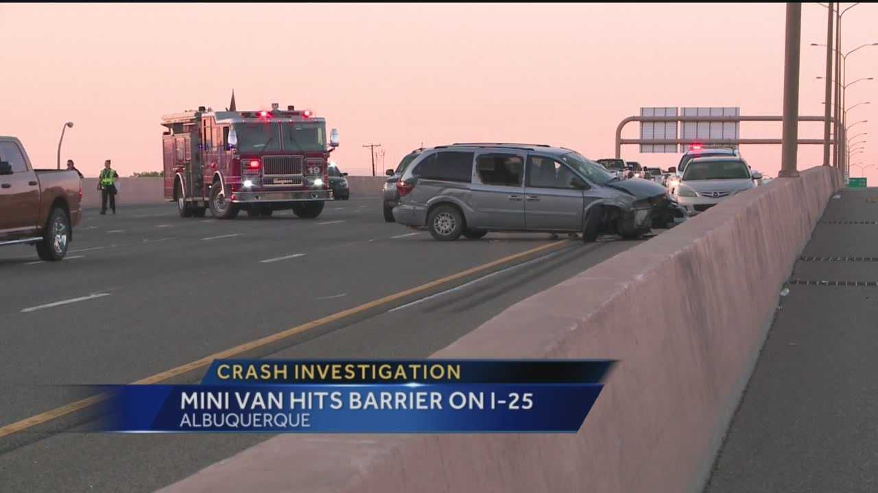 Investigators are trying to find out what caused the driver of a minivan to crash into a barrier on Intestate 25 Sunday night.