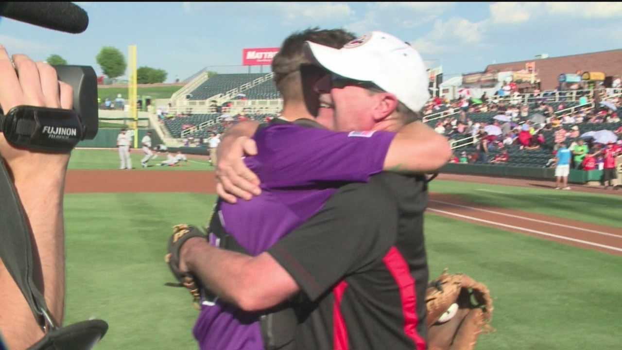 An Albuquerque father said he got the best surprise of his life Sunday after throwing out the first pitch at the Albuquerque Isotopes game.