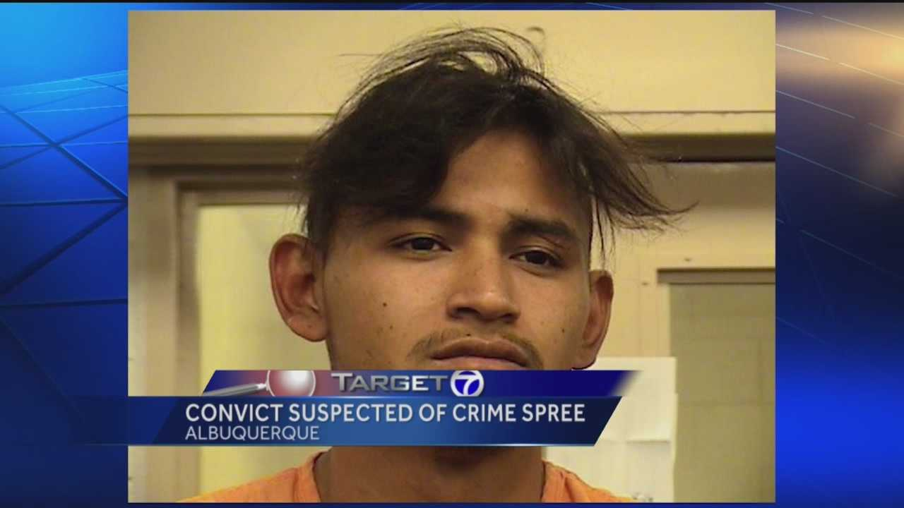Police say a convict celebrated his new-found freedom by going on a crime spree.