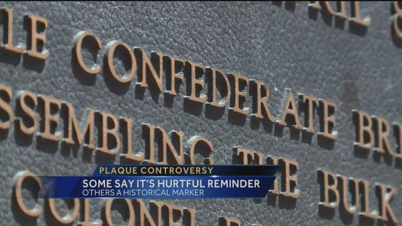 A plaque in Albuquerque's Old Town Plaza is spurring controversy.