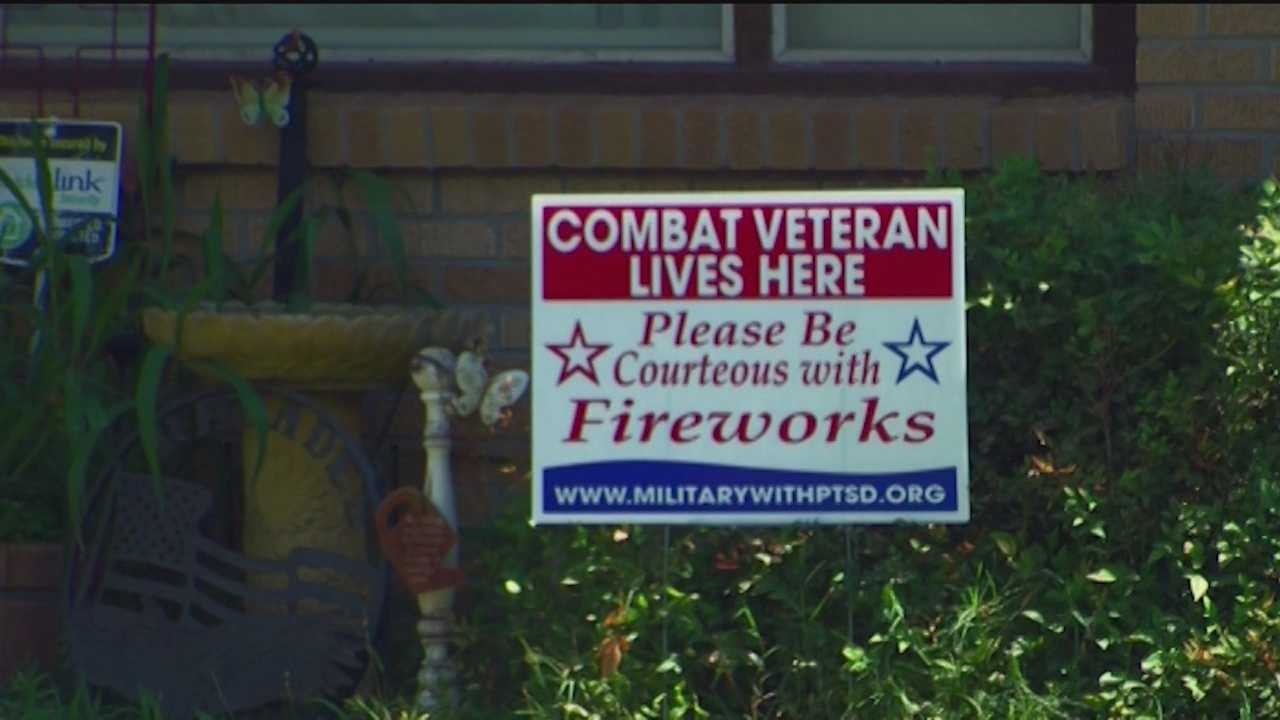 A nonprofit is delivering free signs that ask neighborhoods to be courteous with fireworks around military veterans with post-traumatic stress disorder.