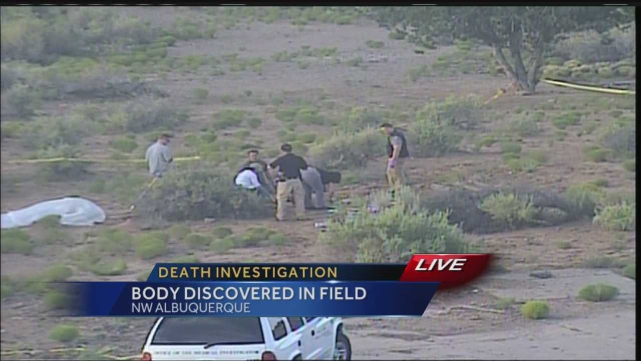 A hand was found sticking out from a concrete slab in a field on Albuquerque's west side Thursday afternoon.