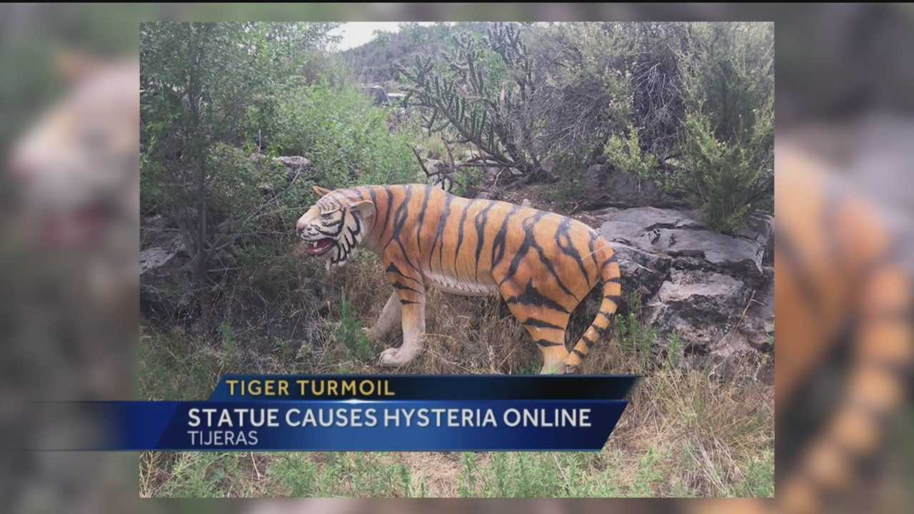 Officials from the New Mexico Department of Game and Fish removed a plastic tiger from the Sandia National Forest near Tijeras after a mountain biker sparked a panic by sharing a picture of it on social media.