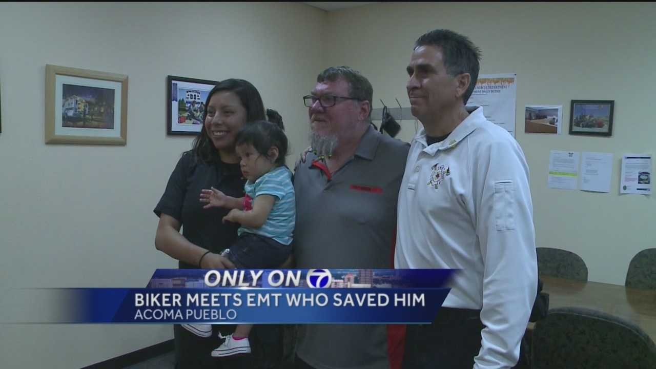 A man got to meet the person that saved his life Friday, two years after almost dying in a motorcycle accident on the Acoma Pueblo.