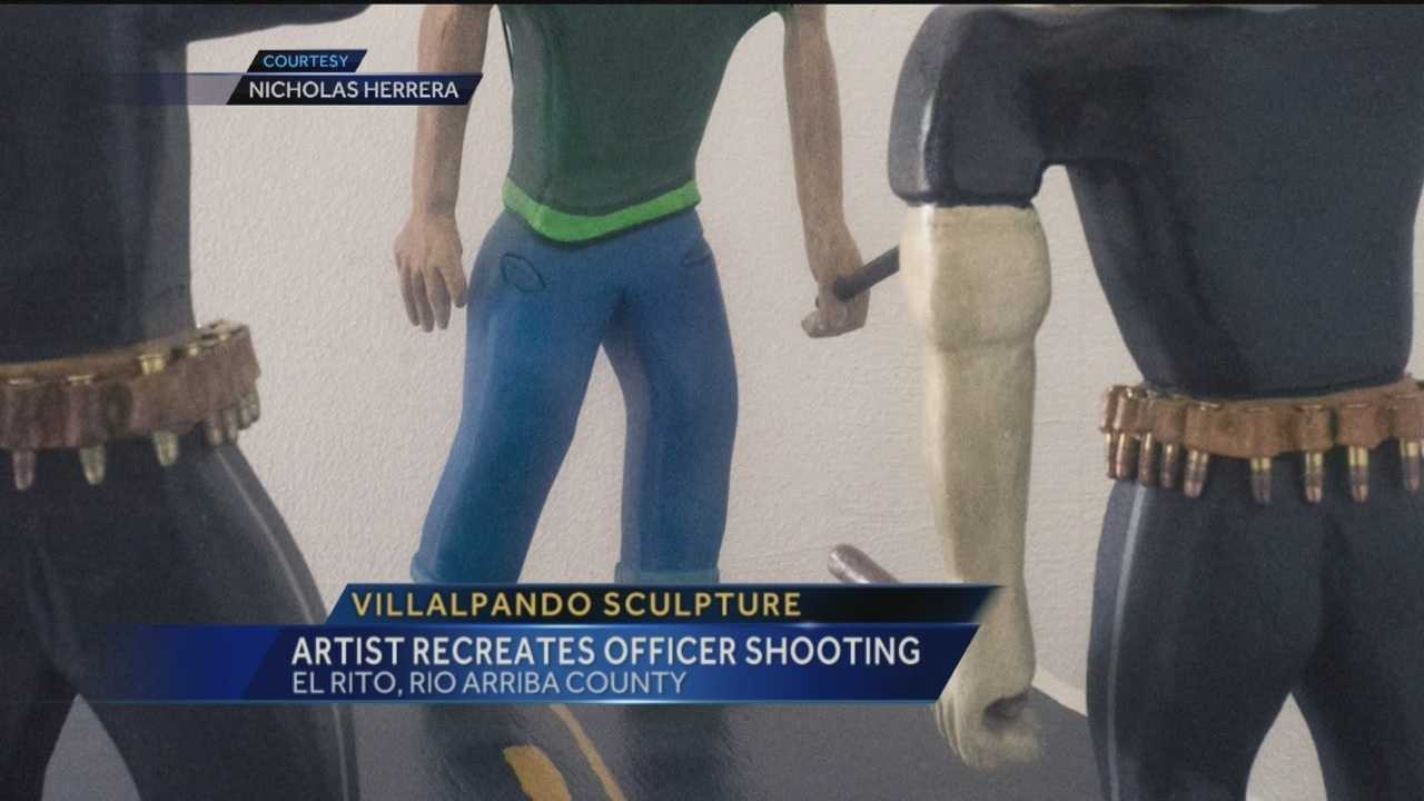 An artist has attempted to recreate the scene of a fatal officer-involved shooting, which ended in the death of a 16-year-old, in the form of a sculpture.