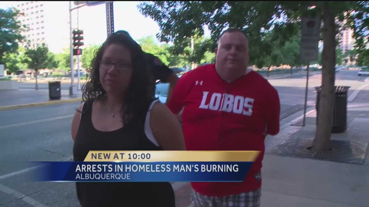 Arrests have been made in the case of a homeless man set on fire with fireworks.