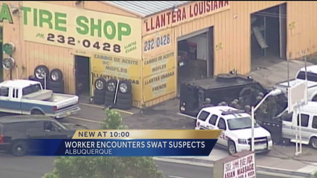 A tire shop employee who was thrown into the middle of an hours-long SWAT situation Wednesday said he didn't know what was going on at first.