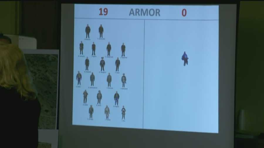 As part of her opening remarks, McGinn showed a slide with the number of officers who were in the foothills with Boyd.