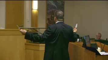 Defense Attorney Sam Bregman pulled out two knives, similar to the ones Boyd had, to demonstrate how officers felt.