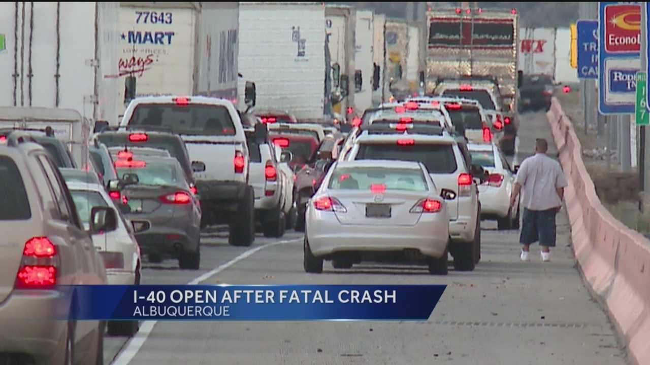 The eastbound lanes of Interstate 40 at Tramway (mile marker 167) have reopened after a fatal crash caused officials to temporarily shut the lanes down Sunday.