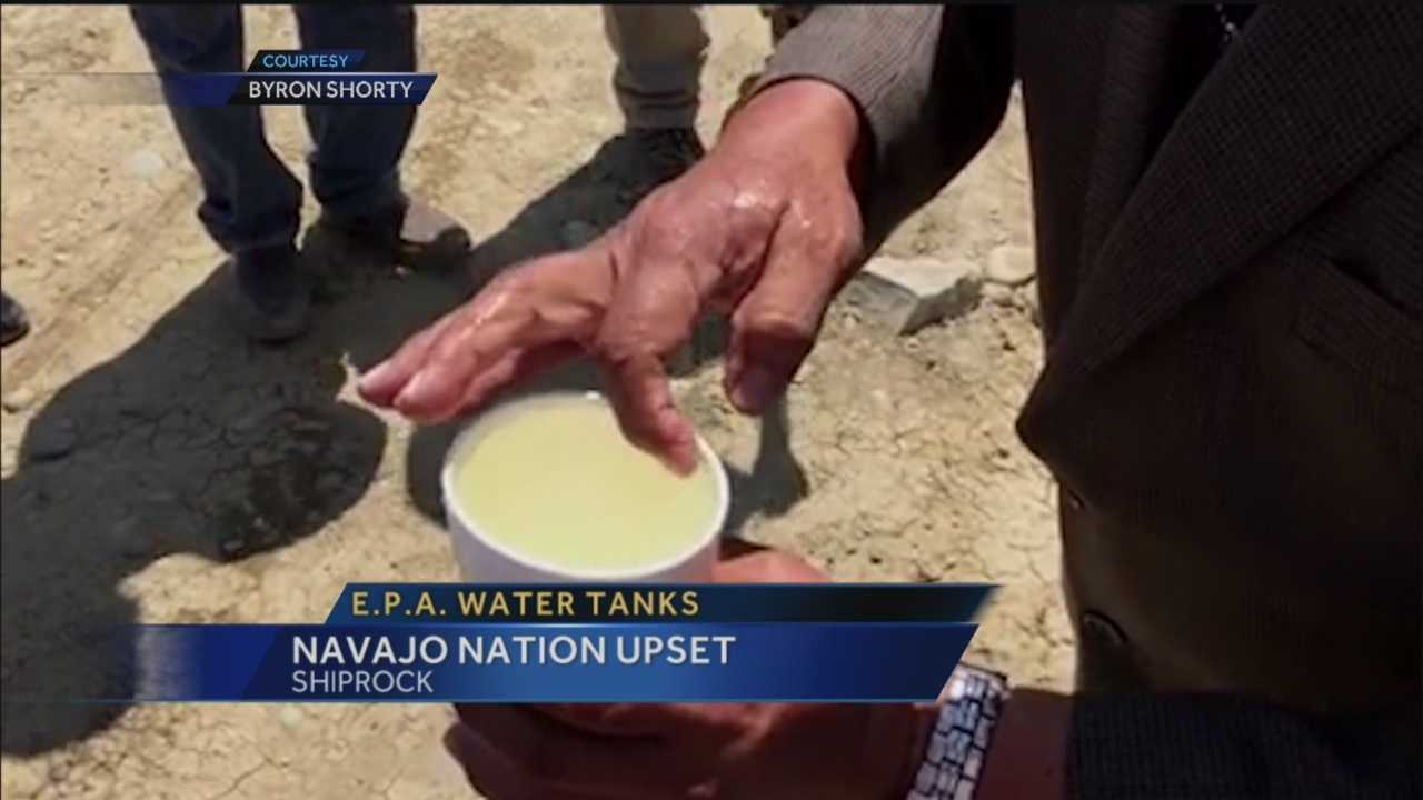Navajo Nation officials say water delivered under the supervision of the EPA is tainted with some type of oily substance.