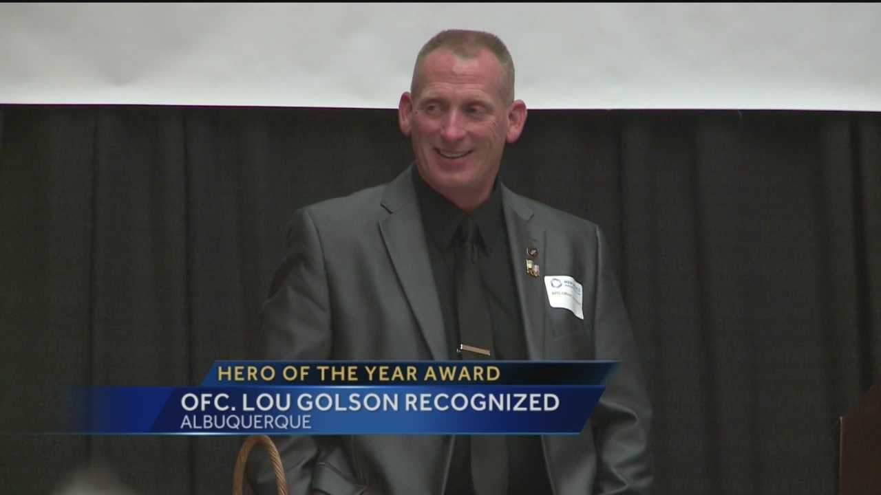 Albuquerque police Officer Lou Golson was honored Thursday for how he handled being shot four times earlier this year.