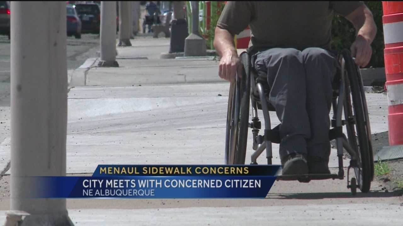 One concerned citizen said the recent construction on Menaul Boulevard to make sidewalks compliant with the federal Americans with Disabilities Act has caused new problems for the disabled.