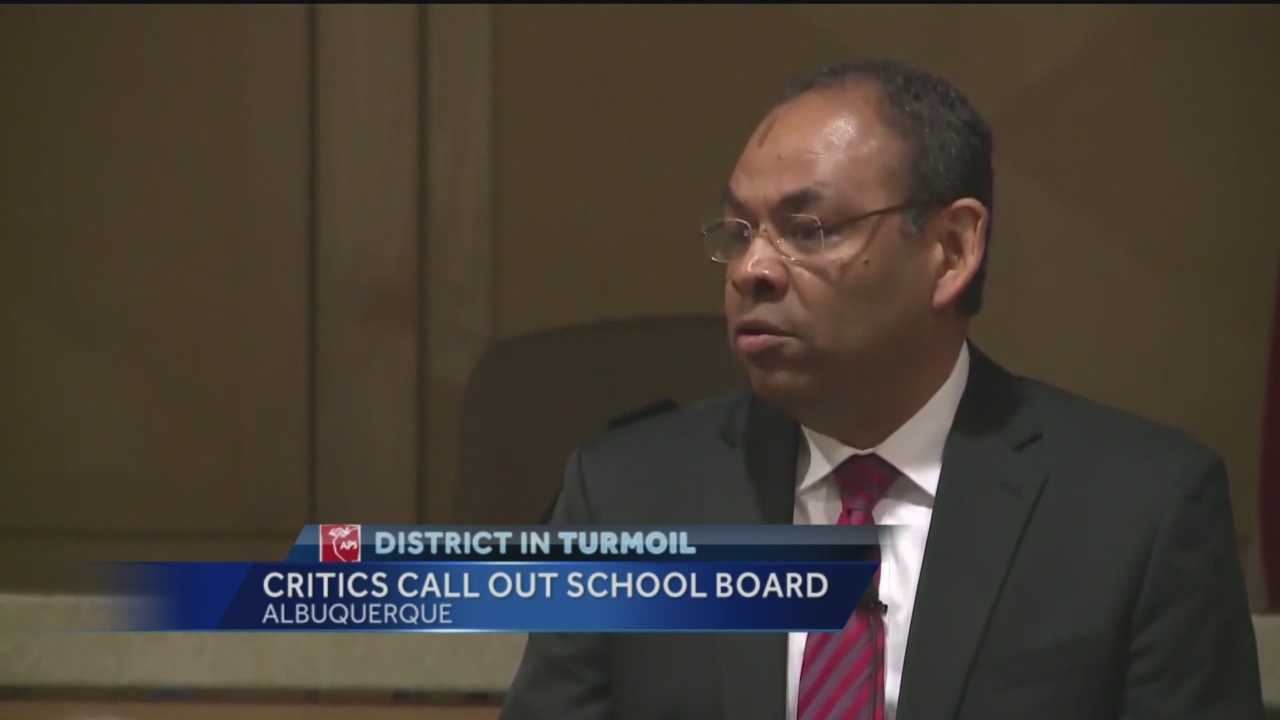 The Albuquerque school board faced public for the first time Wednesday.