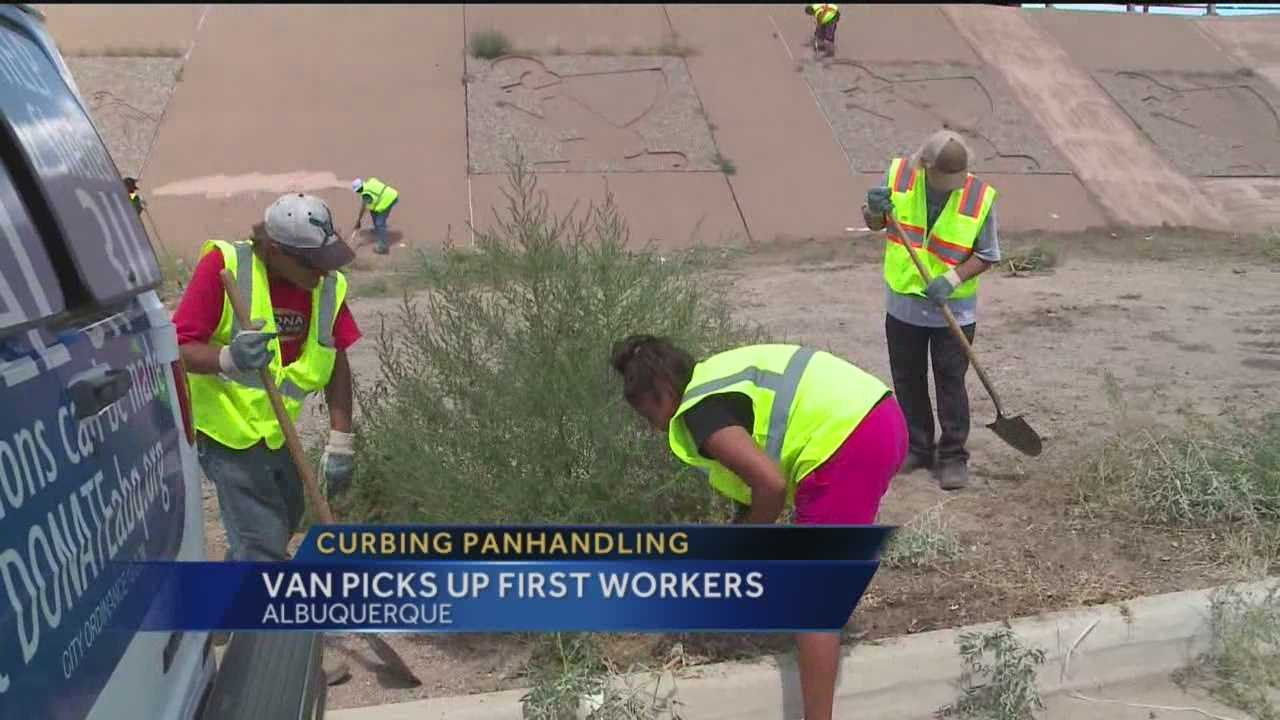 The city took its fight against panhandling one step further Thursday by picking people up and putting them to work.