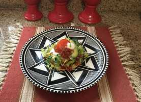 New Mexican Style Layered Tostada by u local user Gabbytorres275. CLICK HERE to read the recipe.