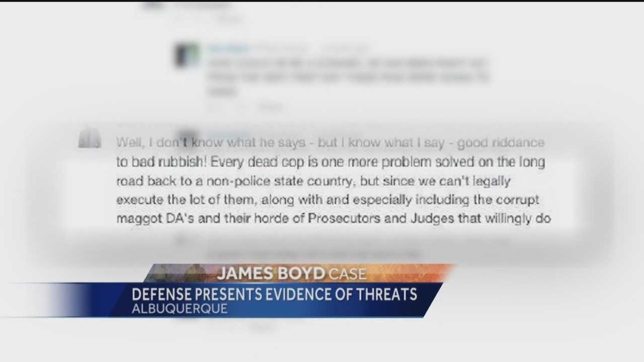 The state is being asked to investigate death threats made against two Albuquerque cops, charged with murder.