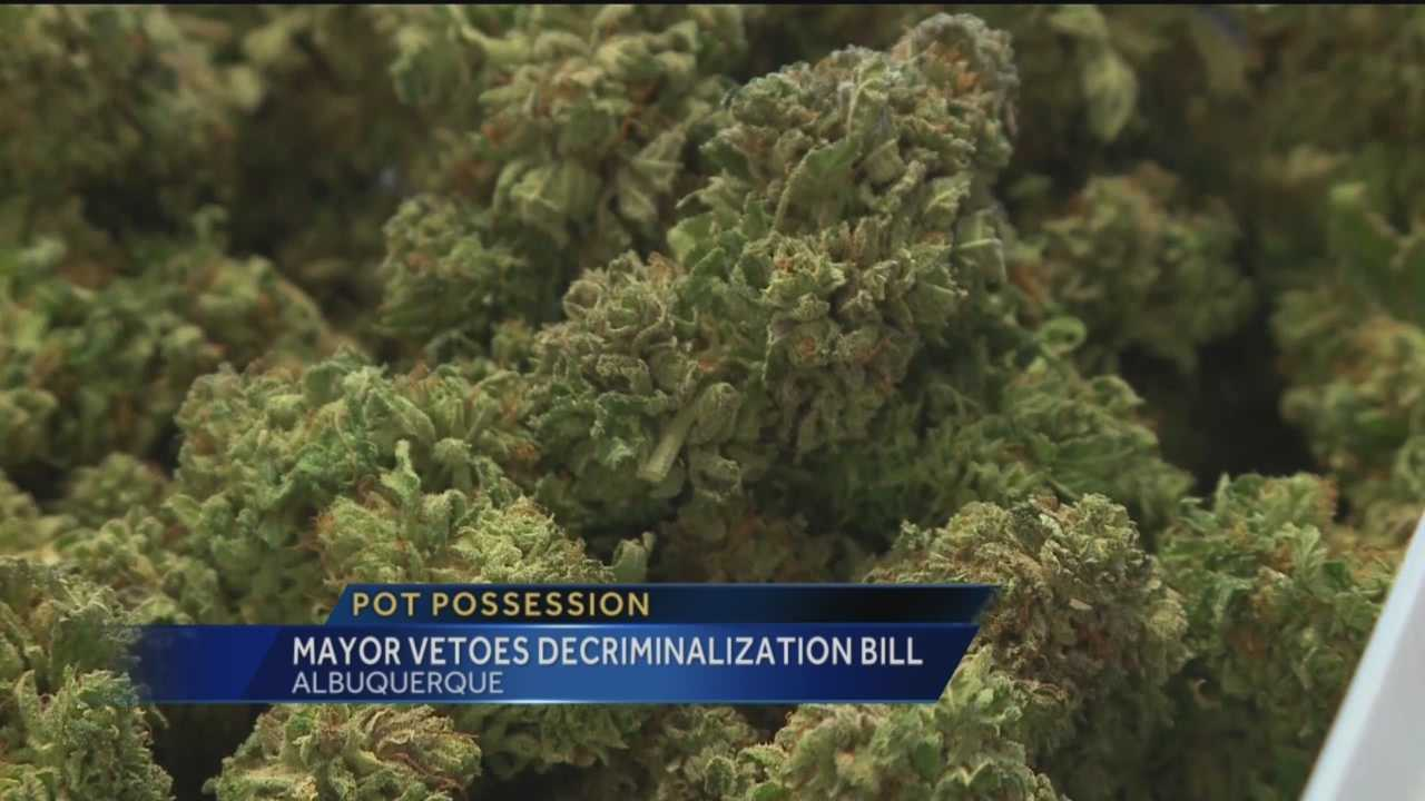 Albuquerque Mayor Richard Berry vetoed a resolution that would have decriminalized small amounts of marijuana.