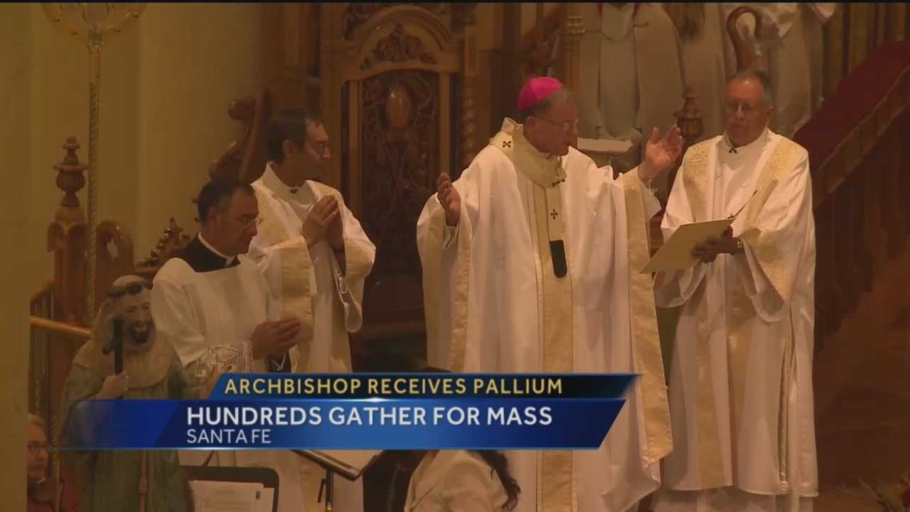 Archbishop John Wester wore a vestment given to him by Pope Francis himself for the first time today.
