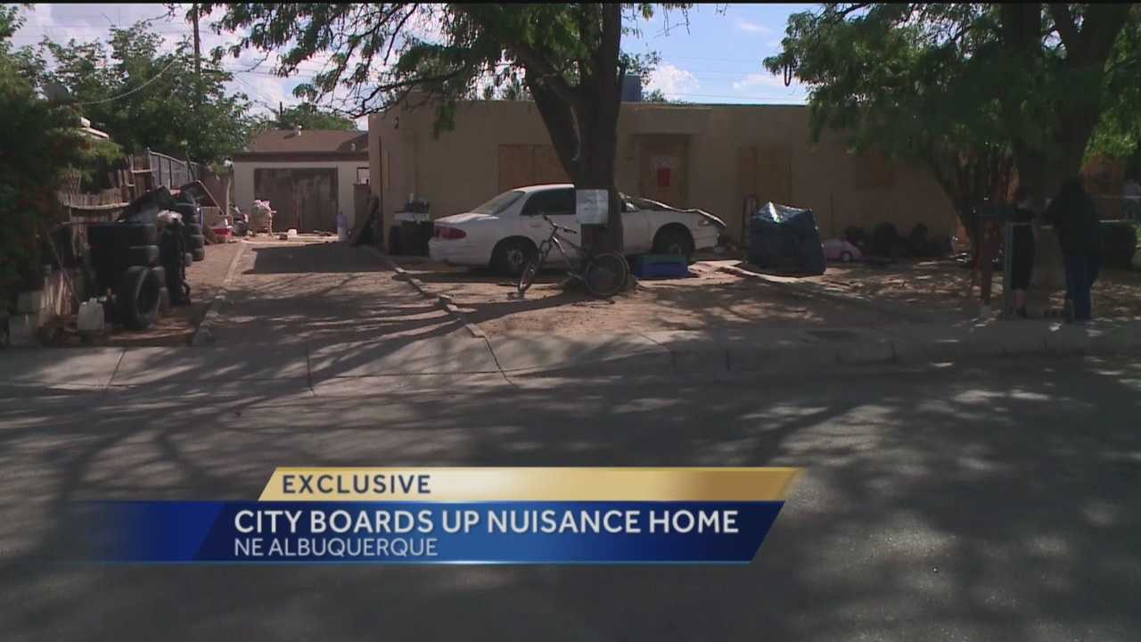 A Northeast Albuquerque house is boarded after disturbances that scared neighbors.