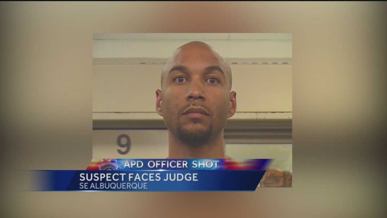 The man accused of shooting an Albuquerque police officer faced a federal judge Monday.