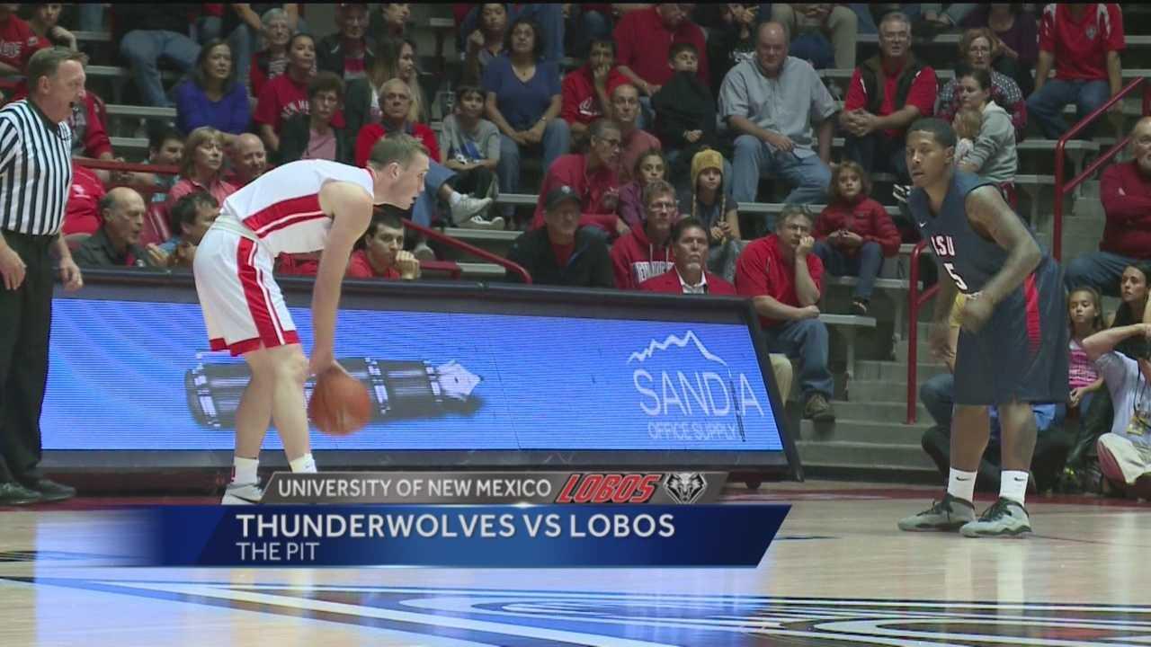 Cullen Neal leads Lobos with 33 points over CSU pueblo.