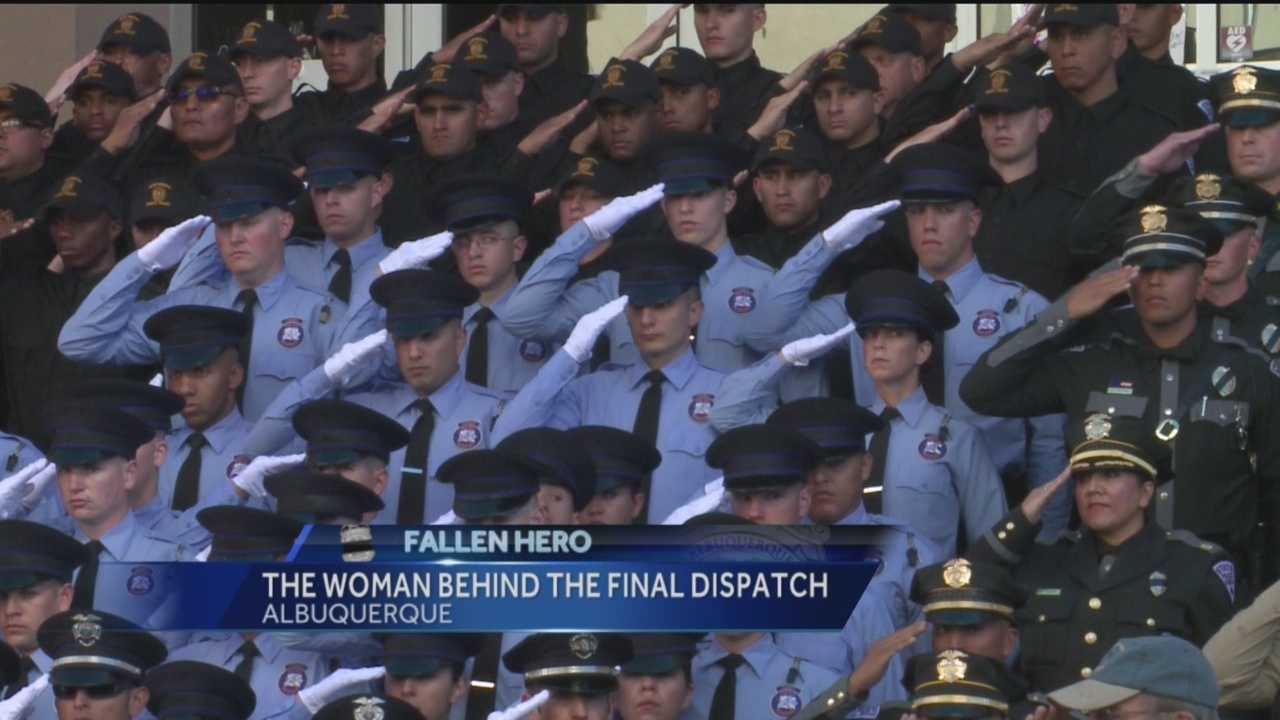The woman behind Officer Daniel Webster's final dispatch said her inspiration to keep cool the day he was laid to rest came from other strong women around her.