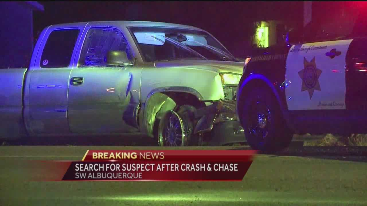 Bernalillo County deputies are searching for a driver who rammed a squad car with his vehicle Wednesday night.