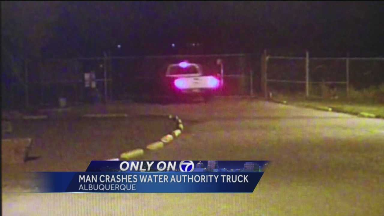 Video shows an Albuquerque man breaking into water authority property and crashing one of their trucks.