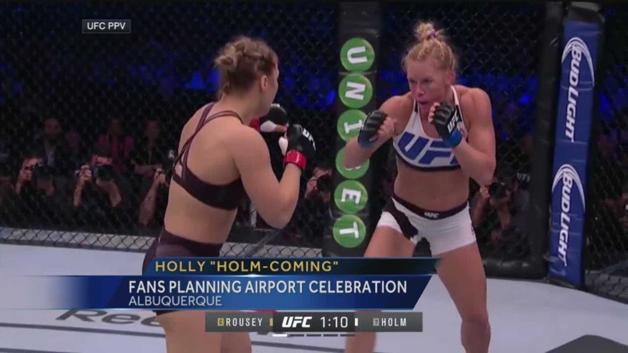 It is still unclear when Holly Holm is expected to be back in Albuquerque, but whenever her plane lands at the Sunport, she can expect to see hundreds of cheering fans.