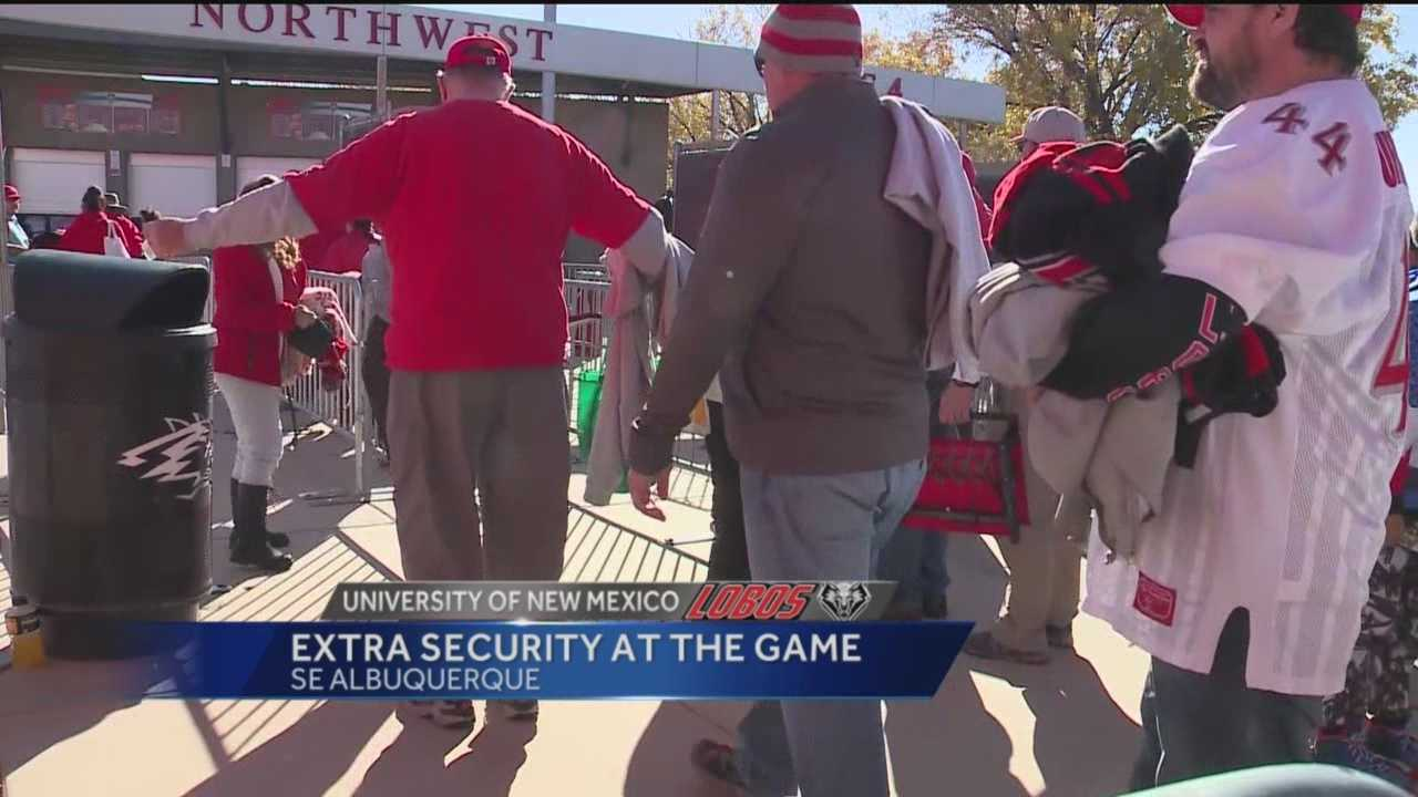 With recent terrorist attacks The University of New Mexico football team increases their security during it's football games.