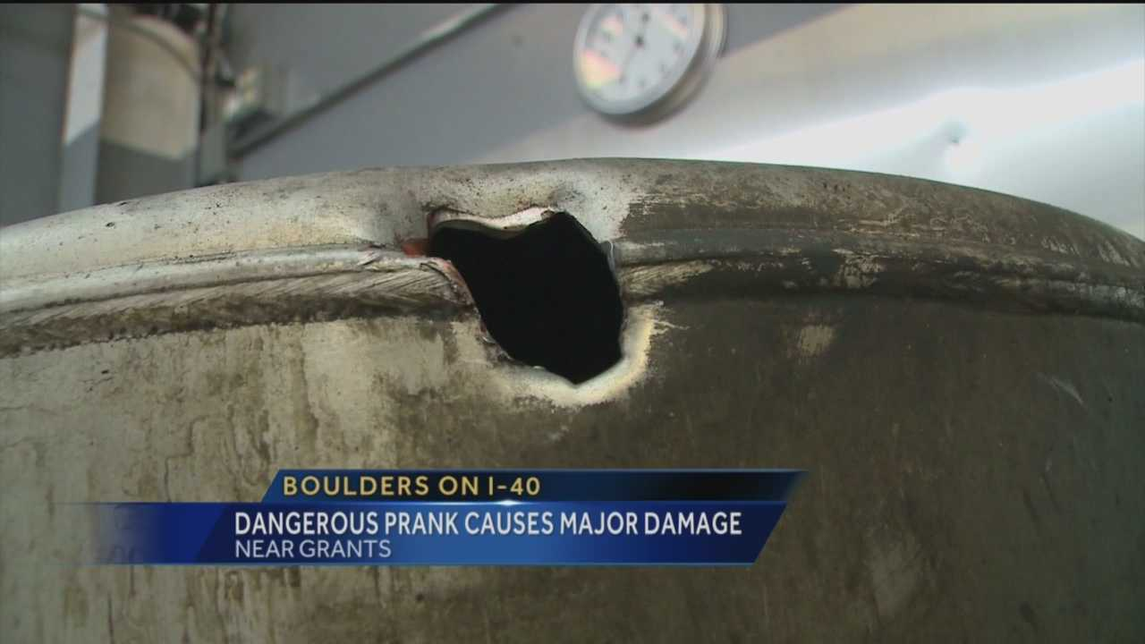 Interstate boulder prank causes major damage