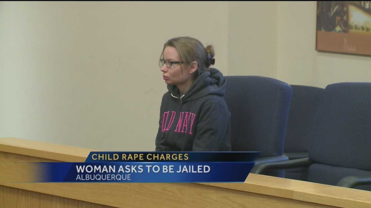 Today a woman charged with sexually abusing a little boy asked the judge to send her back behind bars.