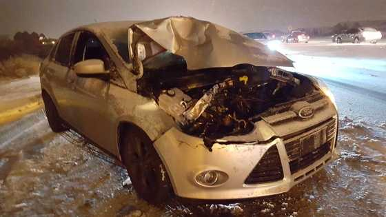 Snow related car crash.