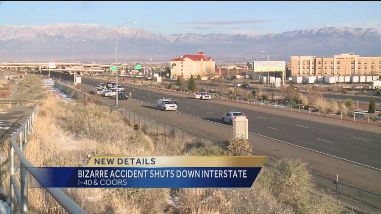 Interstate 40 westbound was shut down at Coors Boulevard Monday after a pedestrian was killed in an accident.